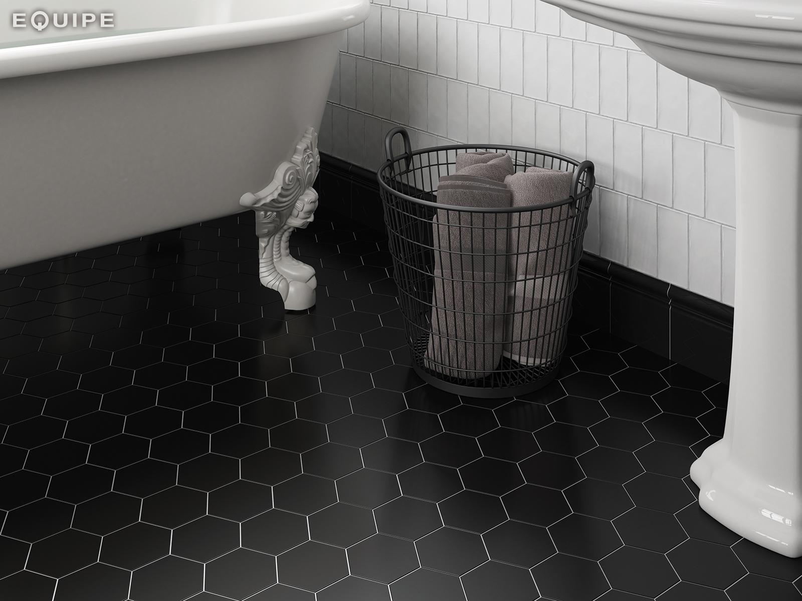 Picture of: 10 1 11 6 Cm Scale Hexagon Black Mat Helsingor Flisecenter